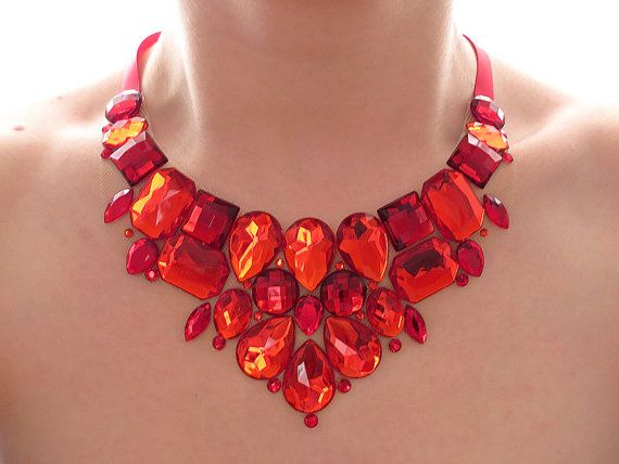 Red Rhinestone Bib Necklace Rhinestone by SparkleBeastDesign