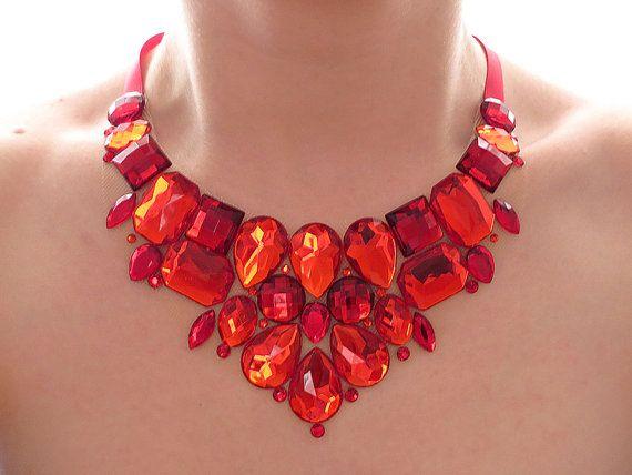 Red Rhinestone Bib Necklace, Rhinestone Statement Necklace, Red Rhinestone Necklace, Sparkly, Jeweled Bib, Bridesmaid Necklace on Etsy, $27.99