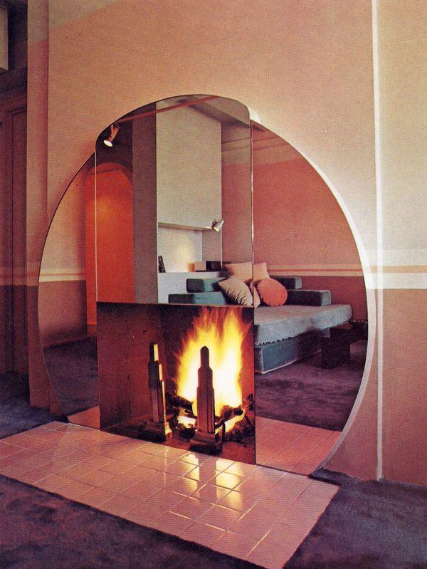 mirrored fireplace