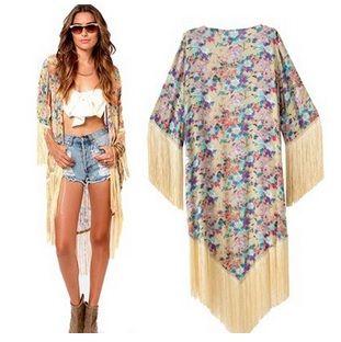 Kimono con flecos 26€, talla única