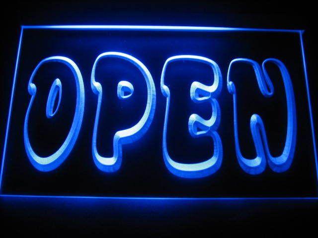 Open Logo Store Light Sign Neon Blue