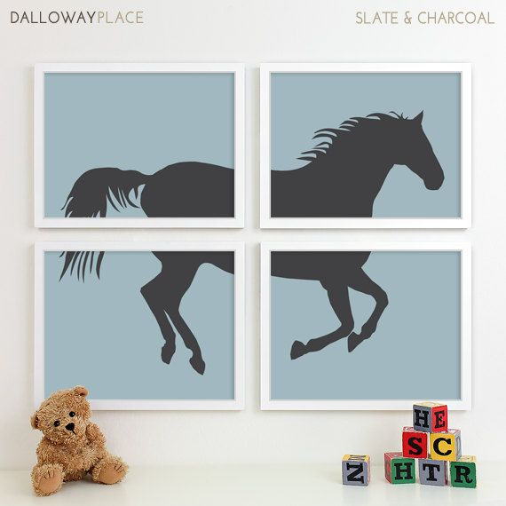 Baby Nursery Art, Farm Animal Nursery Print, Horse Art Print, Children Kids Wall Art Kids Room Playroom Baby Nursery Decor - Four 8x10