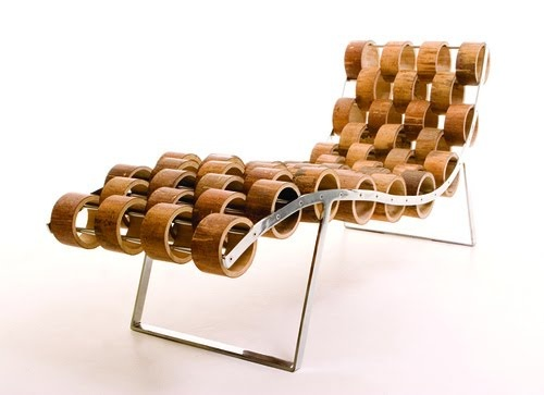 Ezri Tarazi designed chaise lounge from bamboo sustainability collected in China's Yunnan Province.