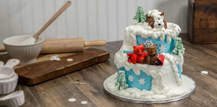 Celebrate winter fun and make this cake featuring whimsical forest animals. Get easy-to-use step-by-step instructions from Cakes.com
