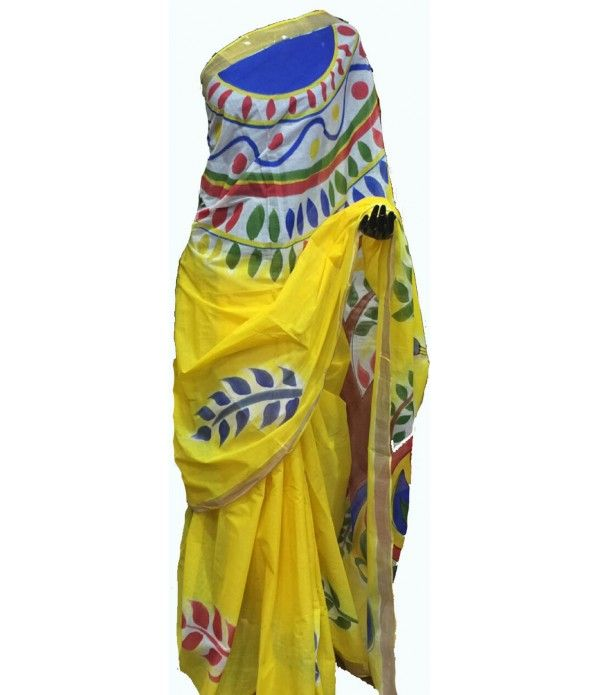Yellow Handpainted Kerala Cotton Saree