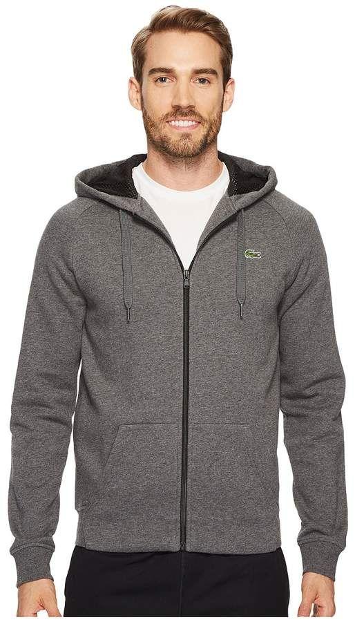 2c28ba1529c0 Lacoste Brushed Fleece Full Zip Hoodie Sweatshirt with 3D Print On Hood  Men s Sweatshirt