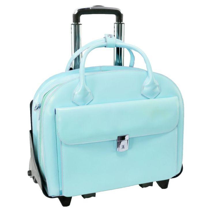 McKlein USA Glen Ellyn 2-in-1 Removable-Wheeled Briefcase Baby Blue - 94368