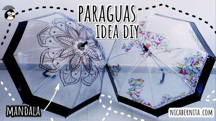 IDEAS PARA DECORAR UN PARAGUAS TRANSPARENTE + DIBUJO DE MANDALA 🖤 MANUAL...