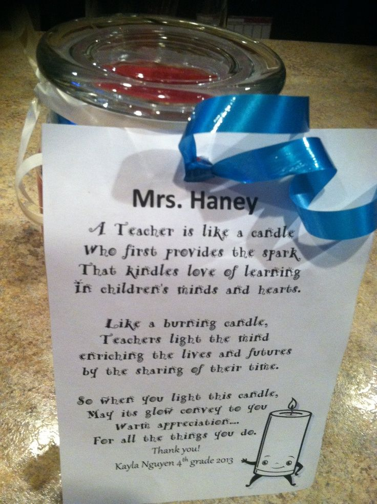 teacher candle gifts | Poem attached to candle for Teacher gift.