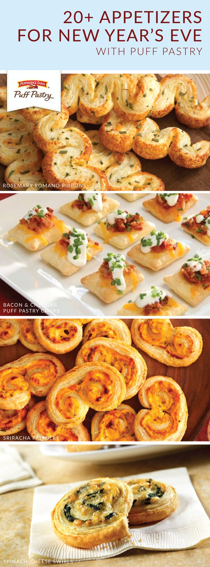 Our new year's resolution is to eat more Pepperidge Farm® Puff Pastry Sheets! These appetizer recipes are a delicious addition to your New Year's Eve celebration. Click here to learn how you can make crowd-favorite dishes like Dried Cherries, Pecans, and Rosemary Brie En Croute; Spinach, Crab, and Artichoke Mini Tarts; and Apple Pie Spirals with Salted Caramel Sauce.