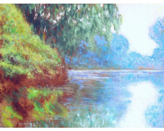 oil painting // quiet lake // artistic work of art //
