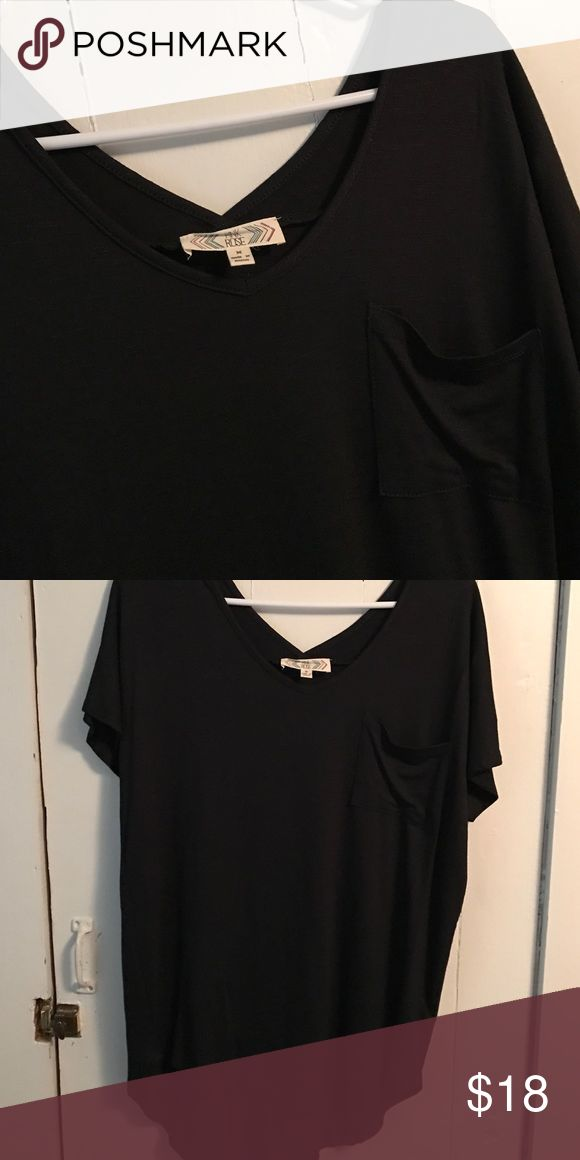Black top Great for leggings. Purchased from TJ Max. Never worn. Offers welcome. Pink Rose Tops Tees - Short Sleeve