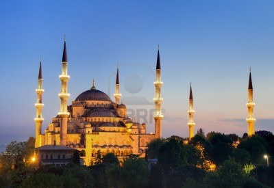 Illuminated Sultan Ahmed Mosque During The Blue Hour In HDR,.. Royalty Free Stock Photo, Pictures, Images And Stock Photography. Image 9761738.