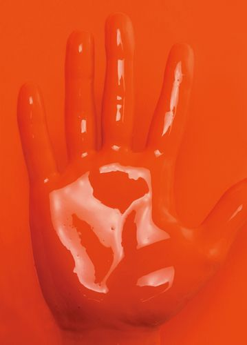 orange. gloss paint. palm. colour