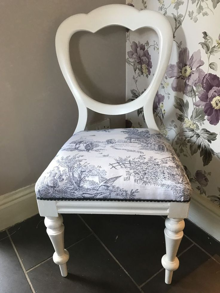 Shabby Chic Balloon Backed Bedroom Chair Toile De Jouy