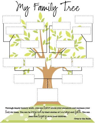 printable family tree - very good for kids finishing their activity days or their religious knots