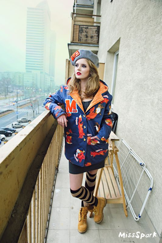 Olga Kalicka for MissSpark in FOXES Jacket. Created from designer Agnieszka Iskierka drawings. Available online: shop.missspark.com. Cute, Kawaii, Love, Fox, Beret, Drawings, Paintings, Kurtka, Style, Styling, Fashion