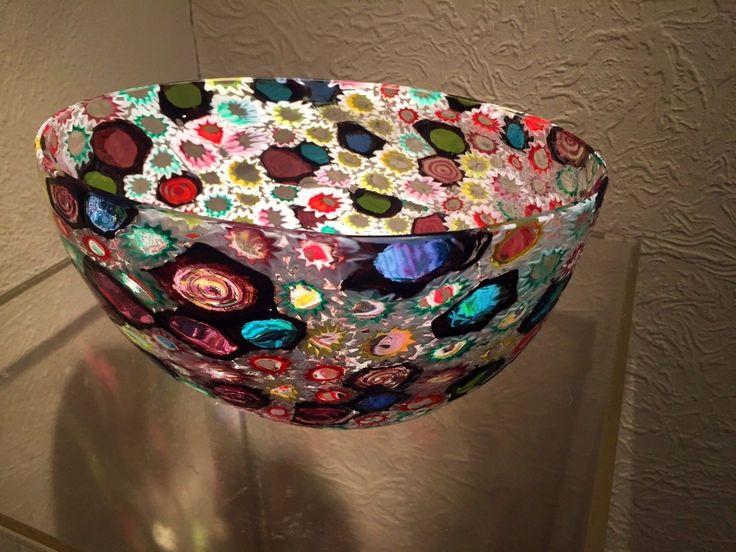 Large MCM Murano Fratelli Toso Italian Colorful Mosaic Murrines Art Glass Bowl 10 • EUR 318,83