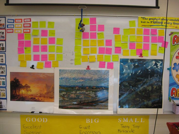 """put up 3 landscapes for the students to look at.  They differed in land form, time of day, and overall style.  discuss how a color scheme can affect the feel of a work of art.  Each student 3 post it notes, have them write one word for each picture, stuck them up over the pictures.   ( I banned """"good"""", """"pretty"""" and """"nice""""), as well as the variety of descriptive words for each painting.  It very quickly gave me a chance to fit a little writing in, and let everyone be involved in the critique."""