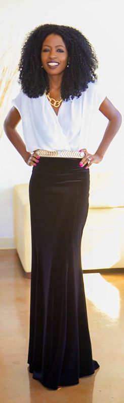 Cute way to wear a floor length skirt in a business setting!