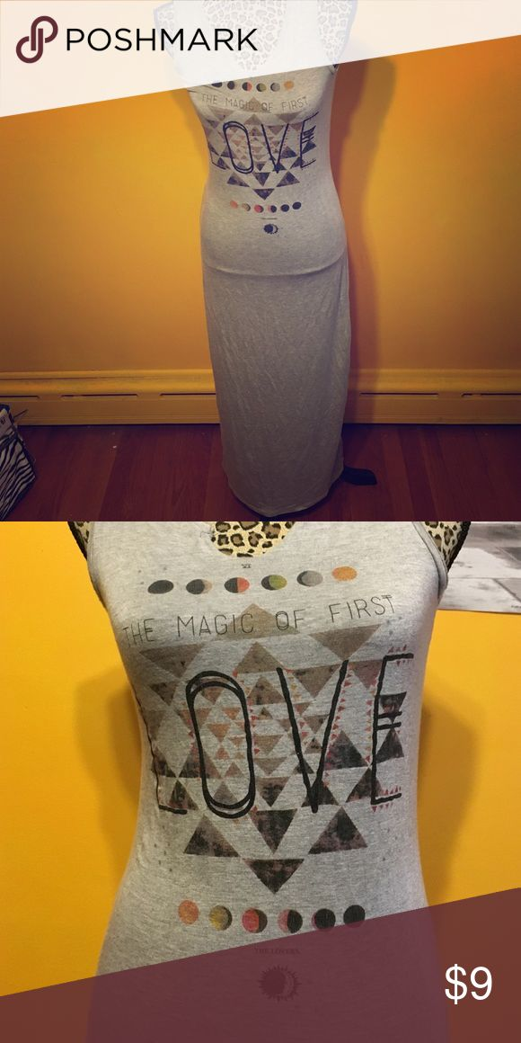 """Tight maxi dress Heater grey. Graphic says """"the magic of first love"""". SOOO comfortable! trendyland Dresses Maxi"""