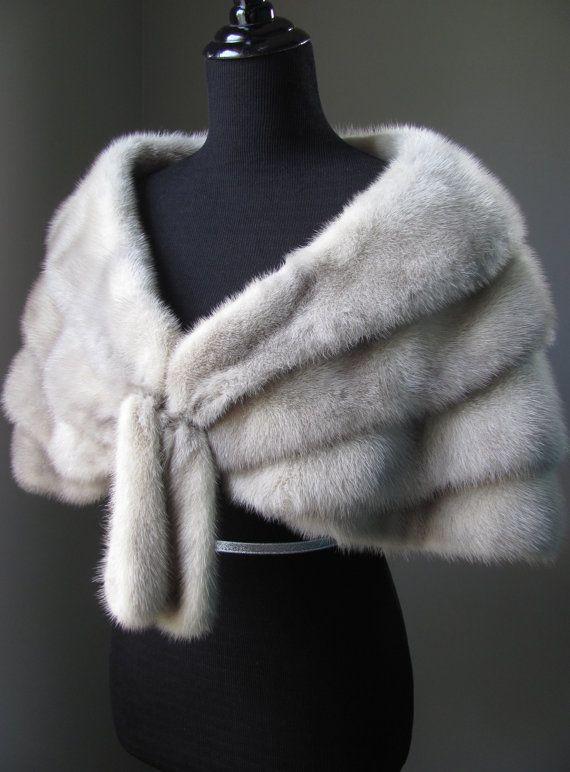 Ultimate Luxury Gift Or Wedding Bridal Accessories/ Hollywood Starlet Grey Silver Mink Fur Cape/ Vintage Stole Shrug Wrap Shawl/Great Gatsby...