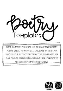 This pack includes templates for and descriptions of various poem types, and a poetry analysis sheet. Templates included for the following poem types: Haiku Tanka Couplet Free Verse Narrative Verse If you are needing a particular poem that is not included, please let me know and I will update the product.