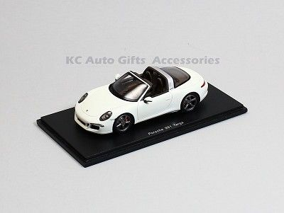 Spark S4933 Porsche 911 991 Targa White 1:43 Scale Model Car   Porsche 911 991 Targa in White. SparkModel S4933. Spark has replicated the original car with this 1:43 scale replica.   Manufacturer: Spark Model  Part #: S4933  Scale: 1:43  Includes display case.