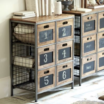 Cambridge Storage | Ballard Designs: great rustic office storage on wall behind sleek glass/metal desk.