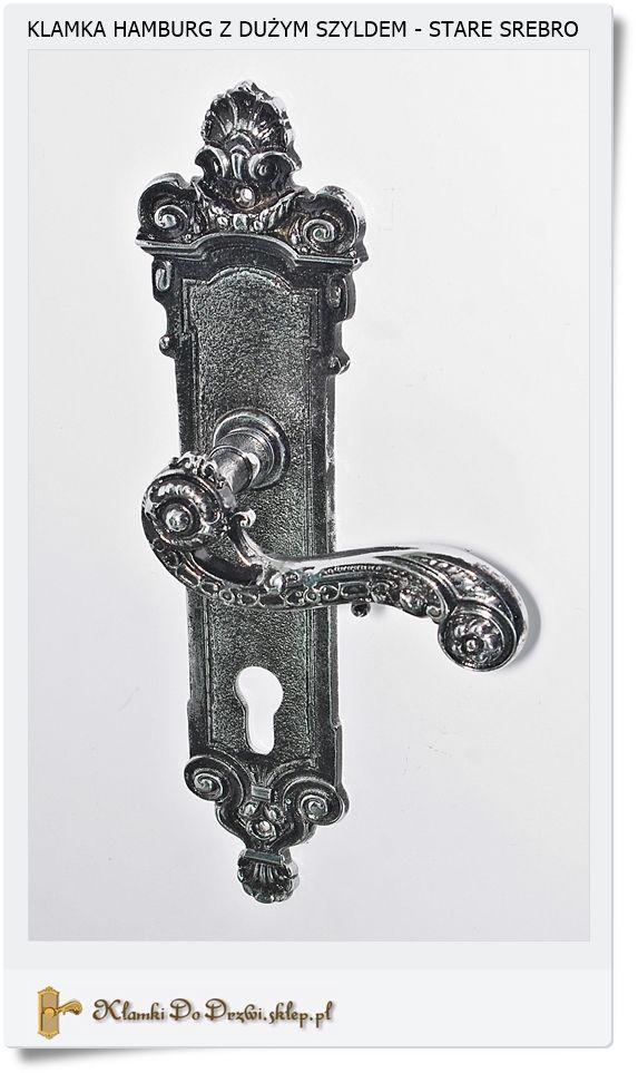Mosiężne duże klamki w kolorze starego srebra Chrom - Nikiel połysk