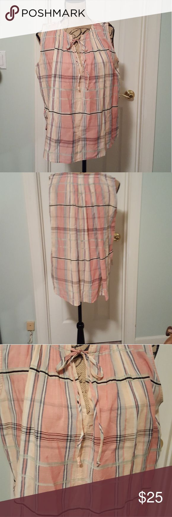 NWT Loft sleeveless blouse Nwt Loft Sleeveless blouse with soft pastel plaid print and ribbon tie at the neckline.  Loose flowy fit. LOFT Tops