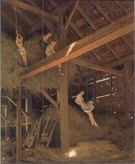 playing in hay loft