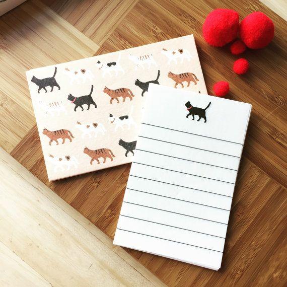 CAT , Small Letter writing set,Set,  Note writing set, Panda Buste e Carta da lettere, Cats