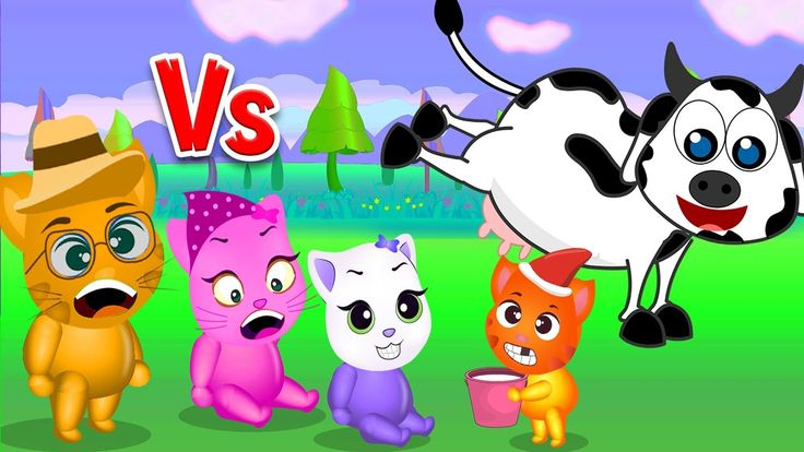 Finger Family Funny Cats | Funny Cats got kicked by cow Finger Family Rhyme For Kids