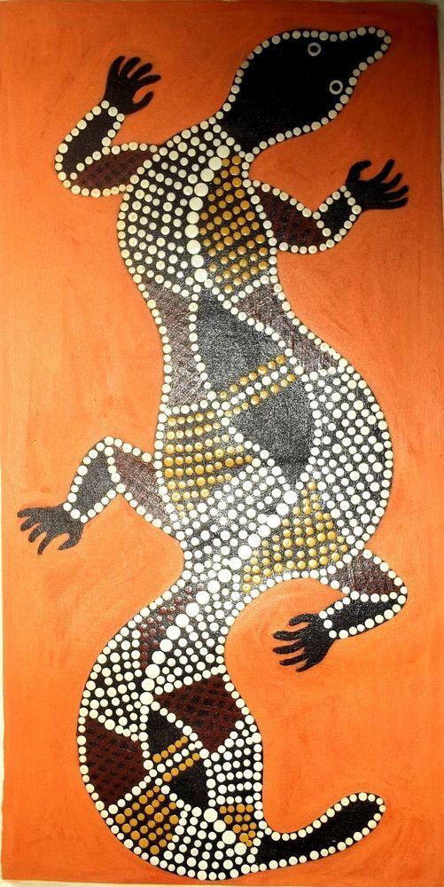 Australian dot painting CROCODILE,ORIGINAL 75 x 40 cm on canvas hand painted