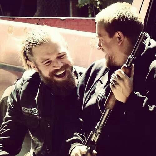 Opie and Jax having fun on set .This was on the blooper reel, Jax fell and landed on Opie's lap. Love these two.