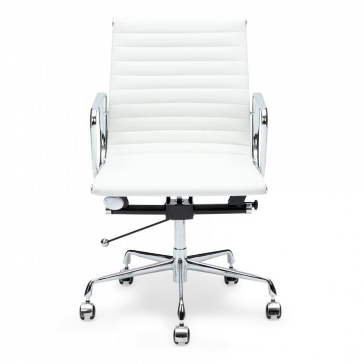 Eames Inspired Style White Short Back Ribbed Office Chair