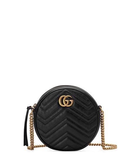 7411e2969420 Gucci GG Marmont Mini Round Chevron Crossbody Bag in 2019 ...
