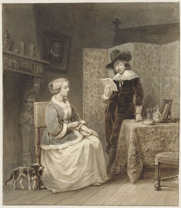 Historisch interieur met zittende vrouw en staande, lezende man, Willem Pieter Hoevenaar, 1818 - 1863