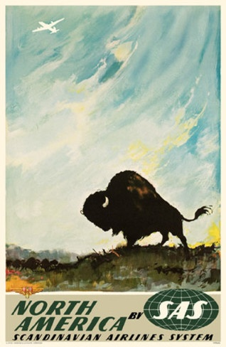 Scandinavian Airlines System (SAS) poster #bison #buffalo #vintage