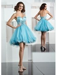 Tulle Sweetheart With Ruffled Flower Short Prom Dress