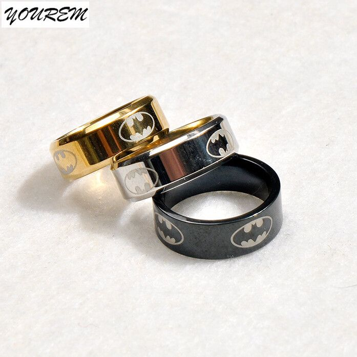 Alloy Gold Plated color polishing batman rings unisex for women men stainless steel ring jewelry drop ship welcome fj308 YOUREM