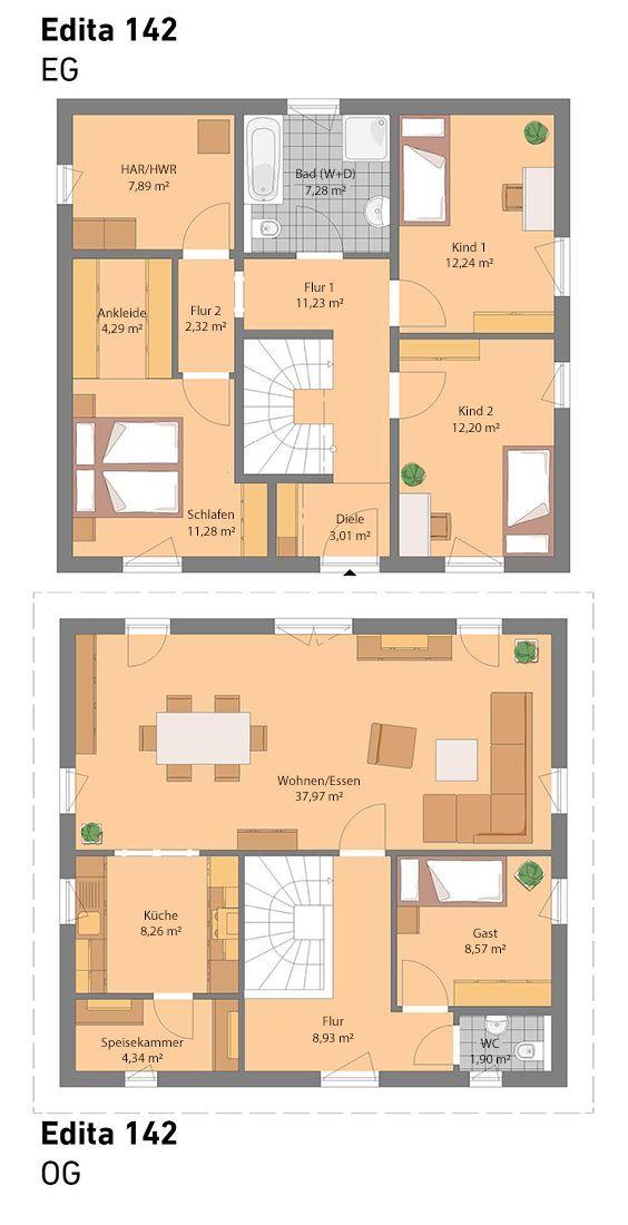 Unser Edita 142 ist die ideale Lösung für Grundstücke mit starker Hanglage. All unsere Häuser sind optional auch mit Keller möglich