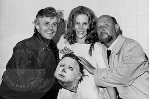 Dick Warlock, Jamie Lee Curtis, et Donald Pleasence sur le tournage de HALLOWEEN II (1981)