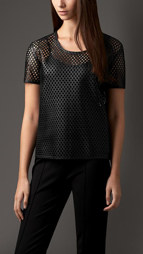 Black Bonded Lambskin Cut-Out Detail Top - Image 1