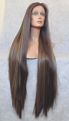 "5"" lace XLong Silky Straight Brown/Blonde High Heat Full Synthetic Wig - WM5"