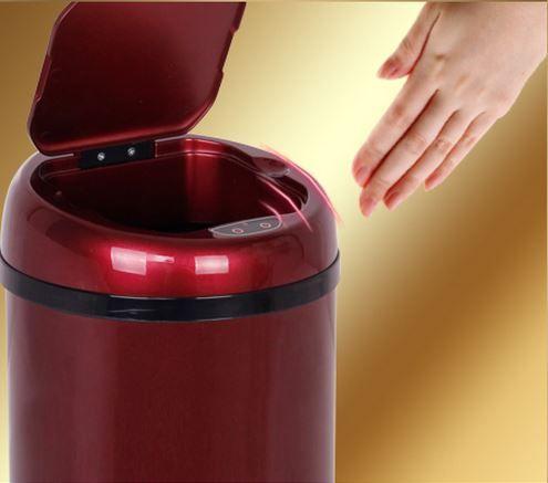 3L Office sensor dustbin auttomatic small  dustbin  mini desktop garbage trash can wastebin  ash-bin round shape sensor bin #Affiliate
