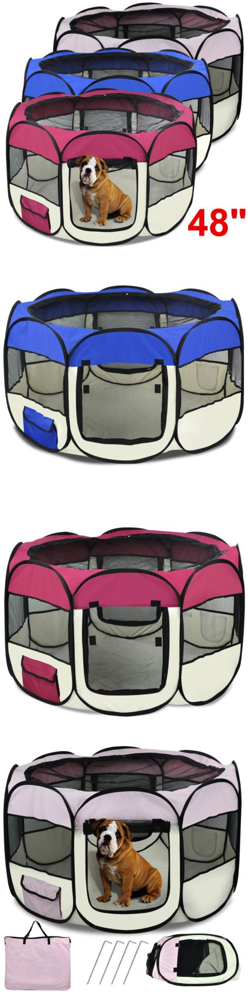 Fences and Exercise Pens 20748: 48 Pet Dog Cat Playpen Tent Portable Exercise Fence Kennel Cage Crate 3 Colors BUY IT NOW ONLY: $31.99