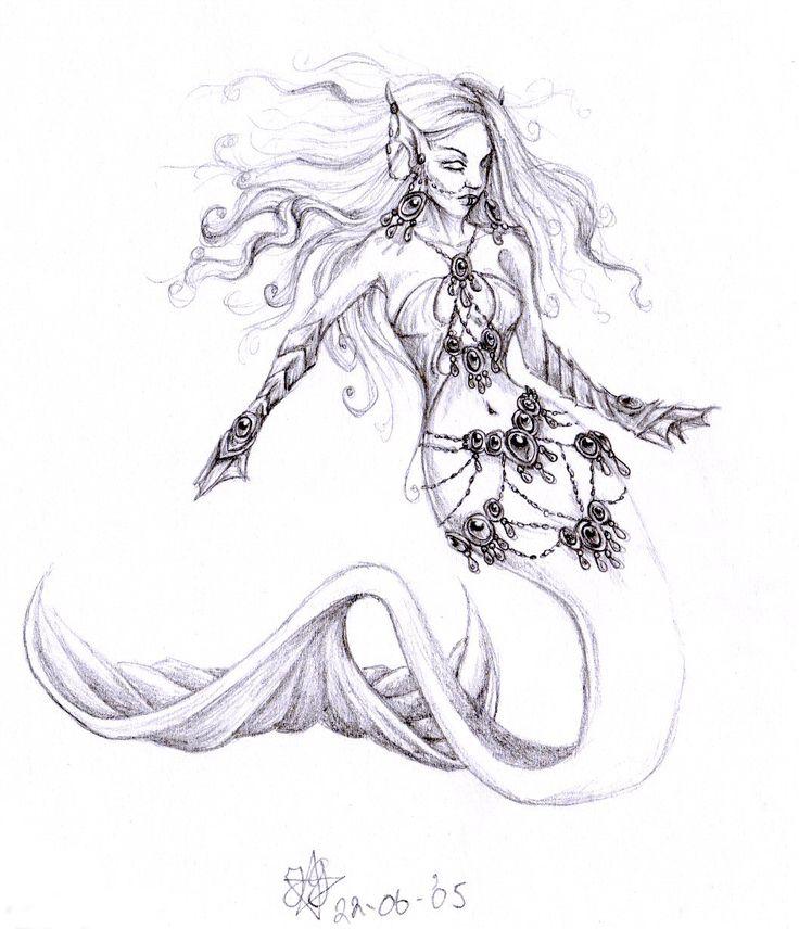 mermaid pencil drawings | evil mermaid by daisyamnell traditional art drawings fantasy 2005 2015 ...