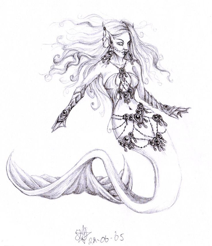 mermaid pencil drawings | evil mermaid by daisyamnell traditional art drawings fantasy 2005 2015 ...